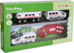 SpielMaus Holz Infrarot Zug mit Wagon, Länge ca. 35 cm, ab 3 Jahren